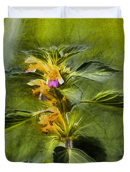 Artistic Paiterly Nettle On Top Yellow Flower With Lilac Skirt Looking Forward Duvet Cover by Leif Sohlman