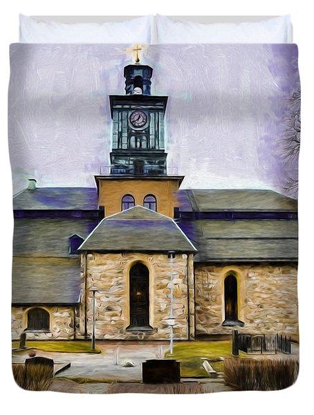 Artistic Presentation Of #varfukyrkan Enkoping Viewed From North Duvet Cover by Leif Sohlman