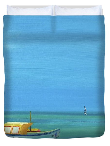 Duvet Cover featuring the painting Aruba by Donna Tuten