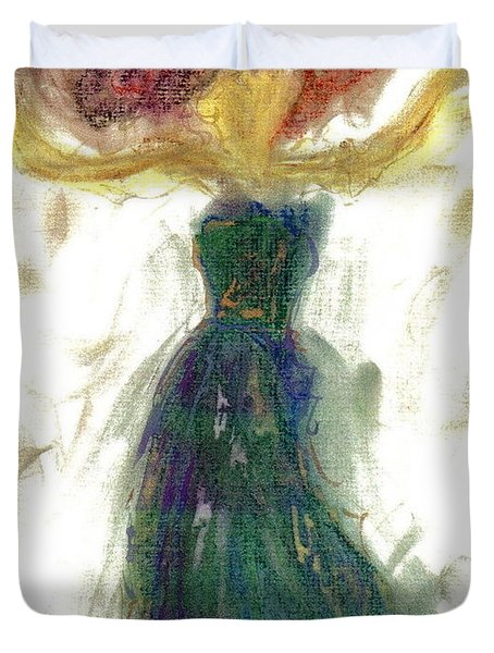 Duvet Cover featuring the painting as if Dancing in Heaven by Lesley Fletcher