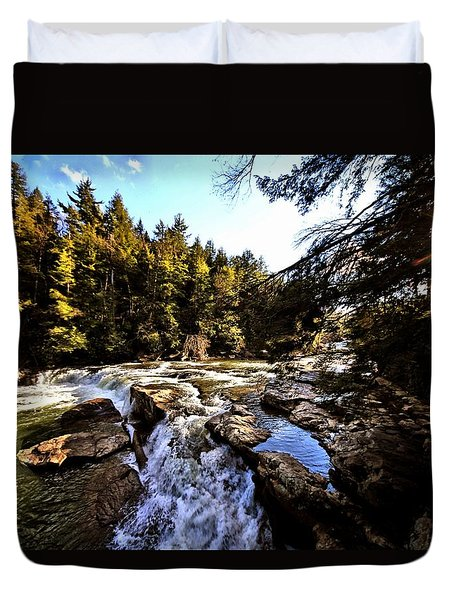 As Lawrence Welk Used To Say-ah Waterfall Waterfall Duvet Cover by Robert McCubbin