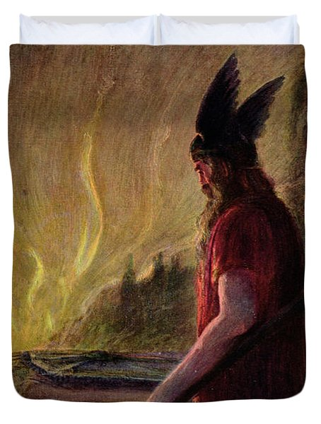 As The Flames Rise Odin Leaves Duvet Cover