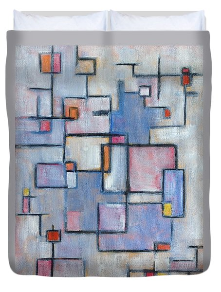 Duvet Cover featuring the painting Asbtract Line Series by Patricia Cleasby