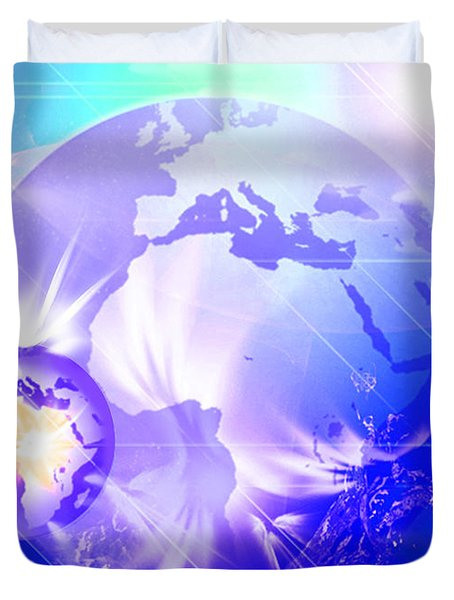 Duvet Cover featuring the digital art Ascending Gaia by Ute Posegga-Rudel