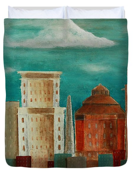 Asheville Skyline Duvet Cover by Gray  Artus