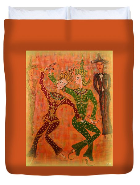 Asian Dancers Duvet Cover by Marie Schwarzer