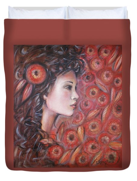 Asian Dream In Red Flowers 010809 Duvet Cover