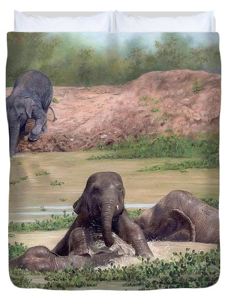 Asian Elephants - In Support Of Boon Lott's Elephant Sanctuary Duvet Cover