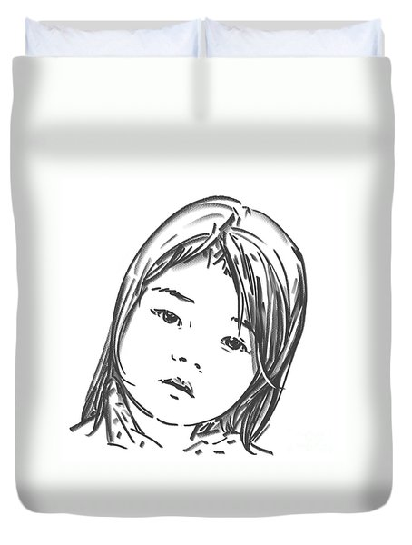 Duvet Cover featuring the drawing Asian Girl by Olimpia - Hinamatsuri Barbu