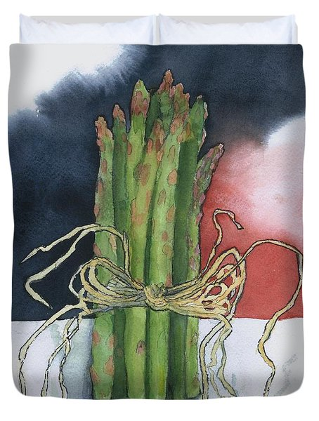 Asparagus In Raffia Duvet Cover by Maria Hunt