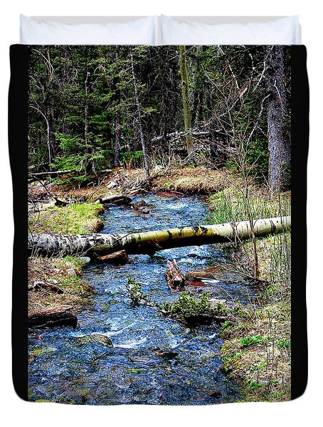 Duvet Cover featuring the photograph Aspen Crossing Mountain Stream by Barbara Chichester