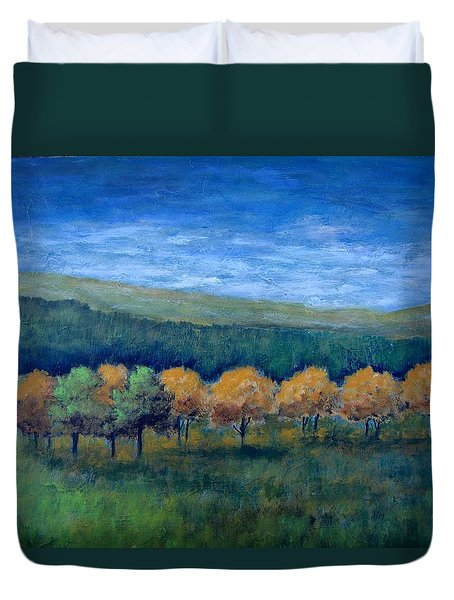 Duvet Cover featuring the painting Aspen Gold by Suzanne Theis