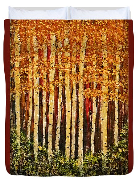 Aspen Grove  Duvet Cover by Sherry Flaker