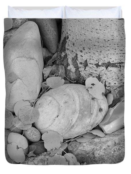 Aspen Leaves On The Rocks - Black And White Duvet Cover