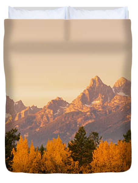Aspen Trees On A Mountainside, Grand Duvet Cover by Panoramic Images