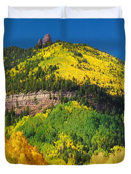 Aspen Trees On Mountain, Needle Rock Duvet Cover