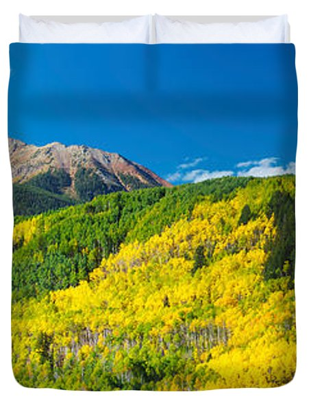 Aspen Trees With Mountain Duvet Cover