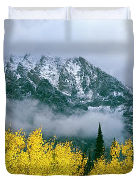 Aspen Trees With Mountain Range Duvet Cover