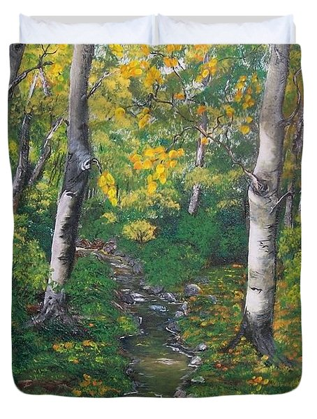 Aspens In The Fall Duvet Cover