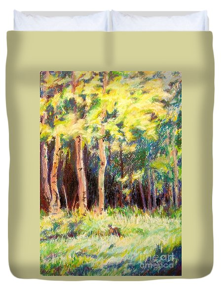 Aspens On The North Rim Duvet Cover by Katrina West