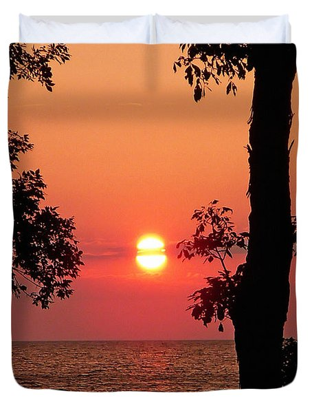 Duvet Cover featuring the photograph Association Island Sunset by Aimee L Maher Photography and Art Visit ALMGallerydotcom
