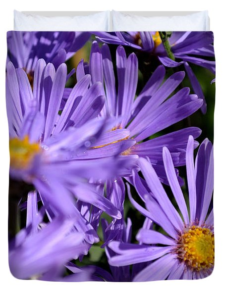 Duvet Cover featuring the photograph Asters After The Rain by Scott Lyons