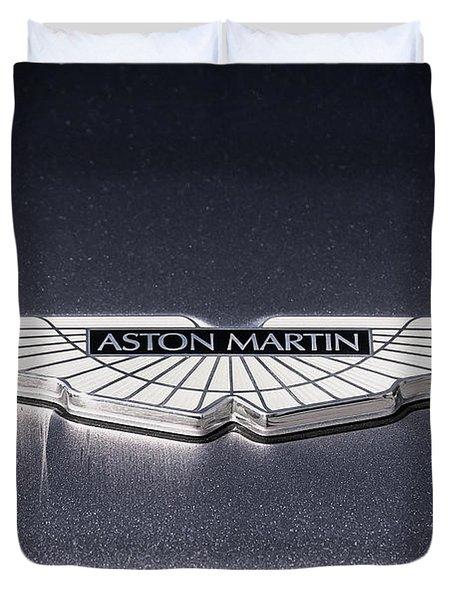 Duvet Cover featuring the digital art Aston Martin Badge by Douglas Pittman