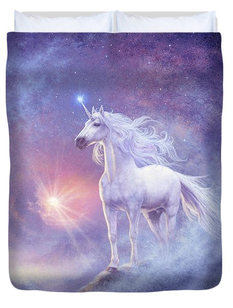 Astral Unicorn Duvet Cover by Steve Read