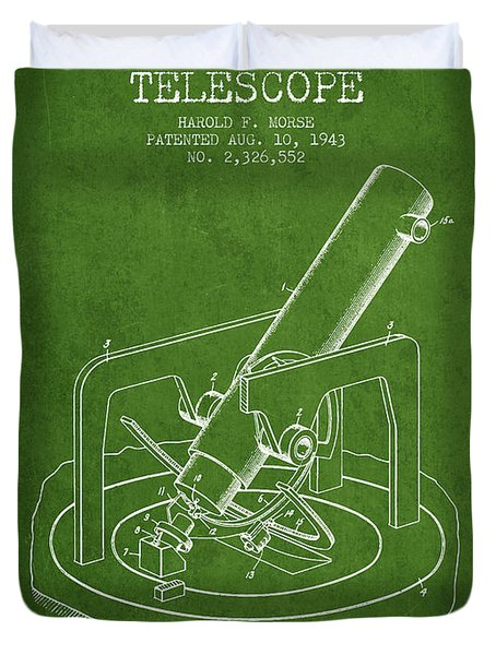 Astronomical Telescope Patent From 1943 - Green Duvet Cover