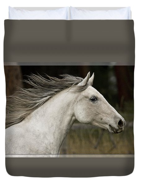 Duvet Cover featuring the photograph At A Full Gallop D7796 by Wes and Dotty Weber