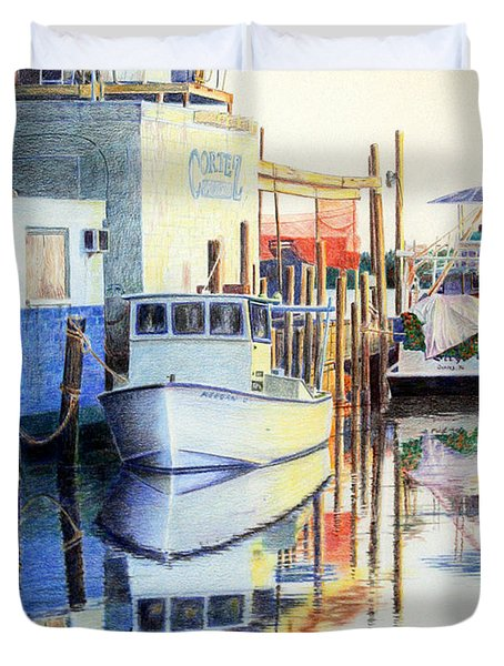 Duvet Cover featuring the painting At Cortez Docks by Roger Rockefeller