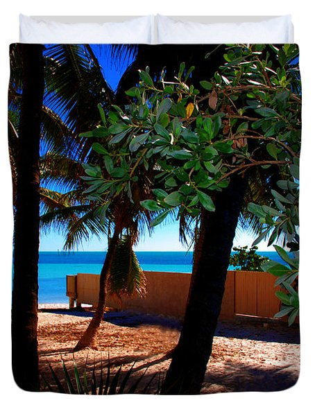 At Dog's Beach In Key West Duvet Cover by Susanne Van Hulst
