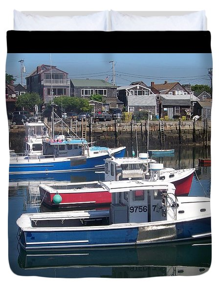 Duvet Cover featuring the photograph Colorful Boats by Eunice Miller