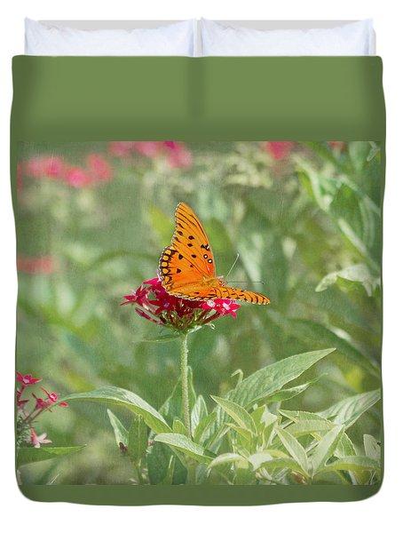 At Rest - Gulf Fritillary Butterfly Duvet Cover