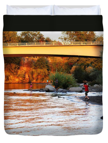 Duvet Cover featuring the photograph At Rivers Edge by Melanie Lankford Photography