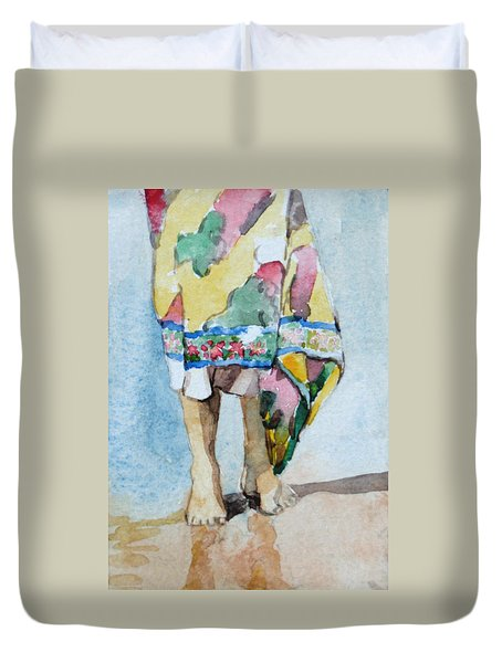 At The Beach 1  Duvet Cover by Becky Kim