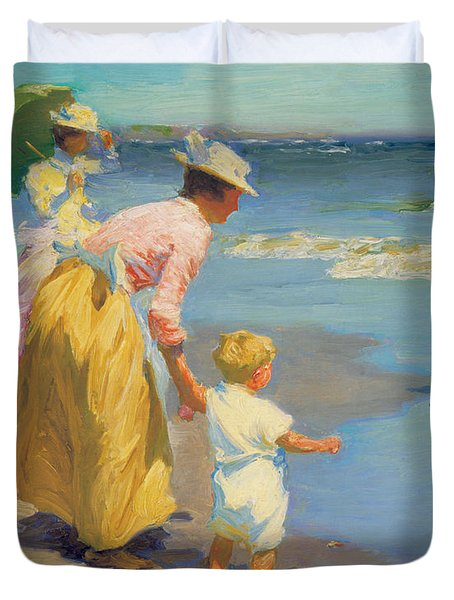 At The Beach Duvet Cover by Edward Potthast