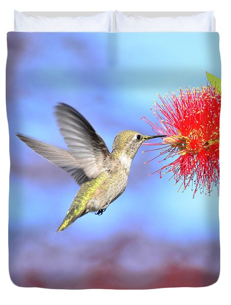 At The Bottle Brush Tree Duvet Cover by Debby Pueschel
