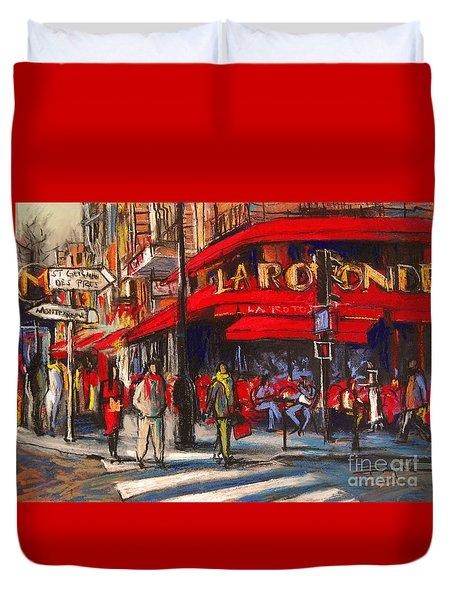 At The Cafe De La Rotonde Paris Duvet Cover