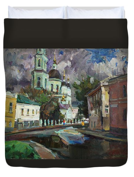 At The Church Sergius In Moscow Duvet Cover