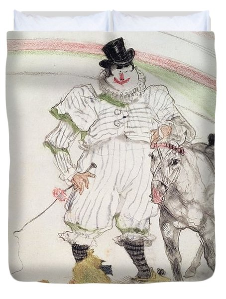 At The Circus Performing Horse And Monkey, 1899 Chalk, Crayons And Graphite Duvet Cover