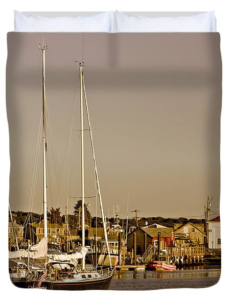 At The Harbor - Martha's Vineyard Duvet Cover by Kim Hojnacki
