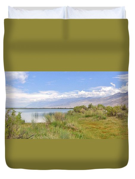 Duvet Cover featuring the photograph At The Lake by Marilyn Diaz