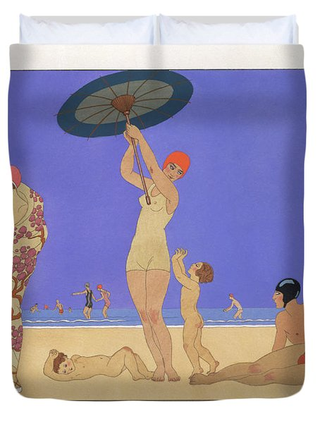 At The Lido Duvet Cover by Georges Barbier