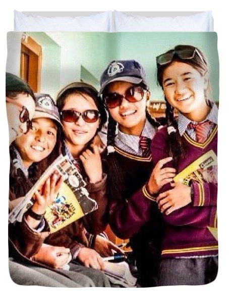 At The Local School In Zanskar Duvet Cover