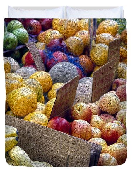 At The Market Duvet Cover by Jon Neidert