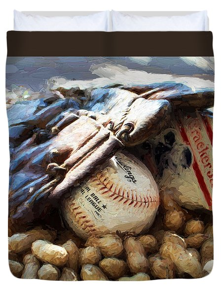 At The Old Ball Game Duvet Cover