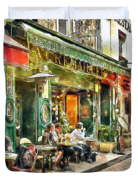 At The Restaurant In Paris Duvet Cover