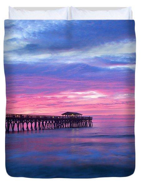 Myrtle Beach State Park Pier Sunrise Duvet Cover by Vizual Studio