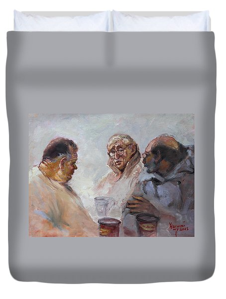At Tim Hortons Duvet Cover by Ylli Haruni